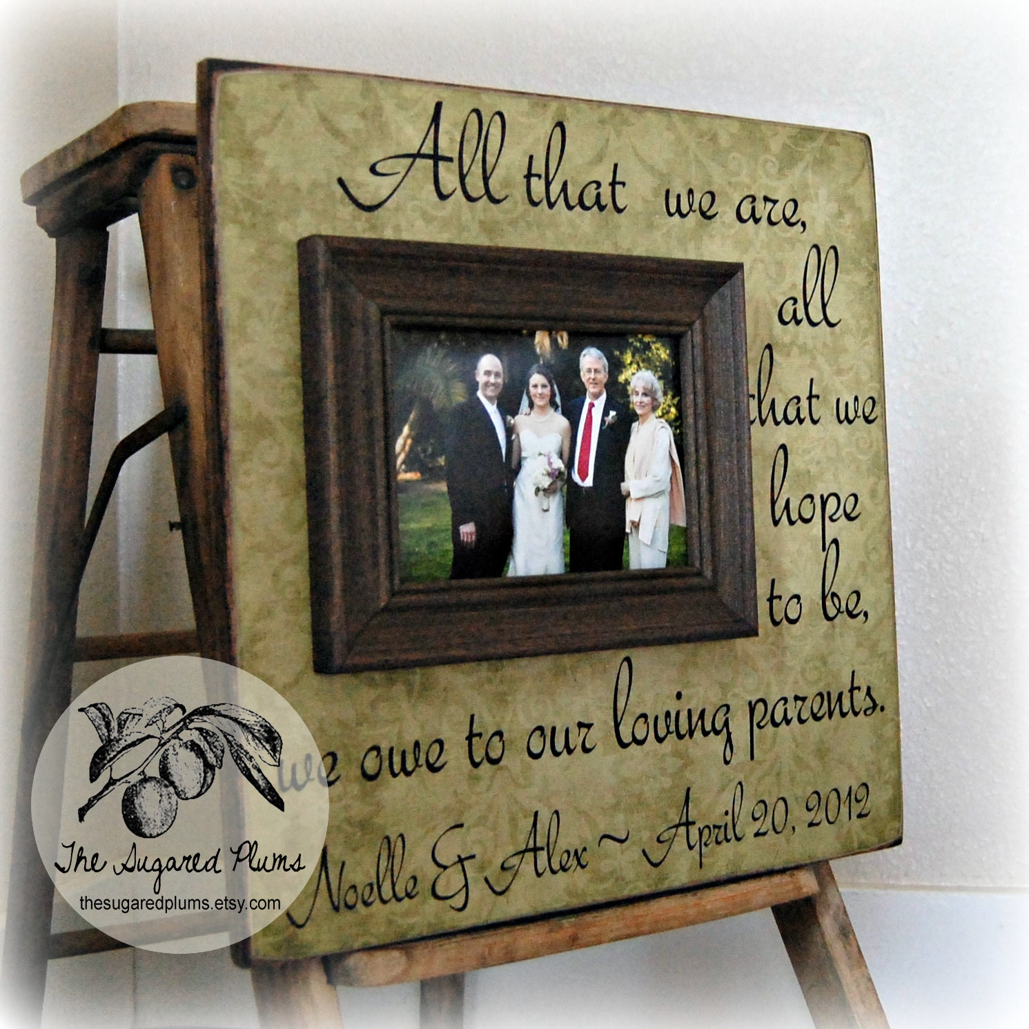 Parents thank you gifts wedding personalized picture frame for Best gifts for parents for wedding