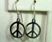 Small PEACE Sign Dangle EARRINGS in STERLING Silver