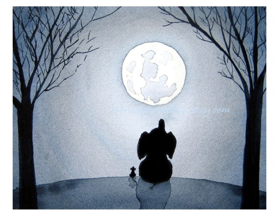 Elephant Art Painting -Under The Moonlight - Elephant and mouse under a full moon, Signed Fine Art Print -nursery art for kids, children