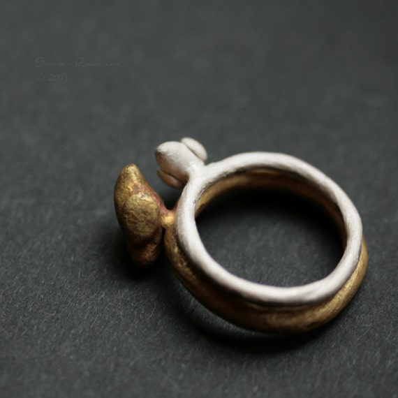 Reserved listing. Chunky Bird Ring Brass and silver dove ring T12