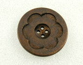Wholesale - Large Wooden Buttons - Intaglio Carving Big Flower Bloom Dark Brown Color Wooden Buttons, 1.58 inch (30 in a set)