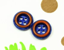 Lovely Plastic Buttons - Violet Blue Color Brown Edge Recessed Center Buttons. 0.47 inch. 10 in a set