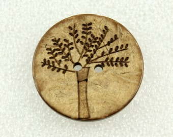 Wholesale Wood Buttons - Antiqued Coconut Carving Big Tree Pattern Buttons, 1.18 inch. 50 in a set