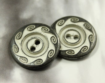 Metal Buttons - Swirl Metal Buttons , Gunmetal Gray Color , 2 Holes , 0.87 inch , 10 pcs