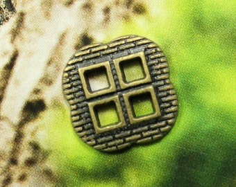 Metal Buttons - Windows Metal Buttons , Antique Brass Color , Square , 4 Holes , 0.47 inch , 10 pcs