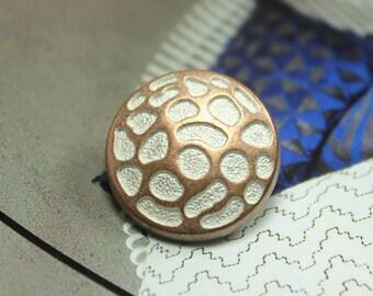 Metal Buttons - Dapple Metal Buttons , Copper White Color , Shank , 0.79 inch , 10 pcs