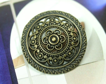 Metal Buttons - Lacework Filigree Metal Buttons , Antiqued Brass Color , Shank , 1.18 inch , 6 pcs