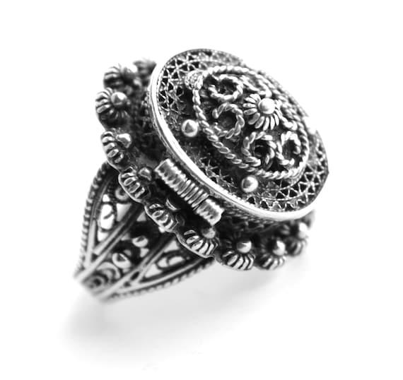 Antique Edwardian 800 Silver Poison Ring Size 4 1 2
