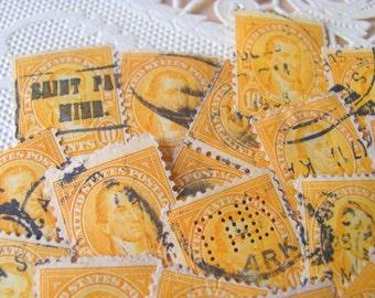 Golden Sunflower Yellow Orange 50 Vintage 1920s US President James Monroe 10 Cent Postage Stamps Philately Scrapbooking Ephemera