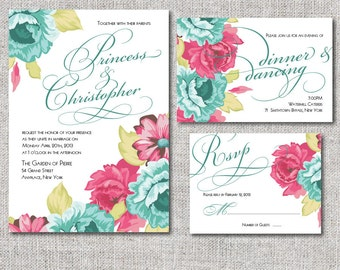 Garden Wedding Invitation Suitev- Blue and pink