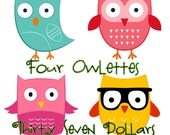 Four Owlettes for Thirty Seven Dollars (Owl pillows, stuffed owls, owl party favors)