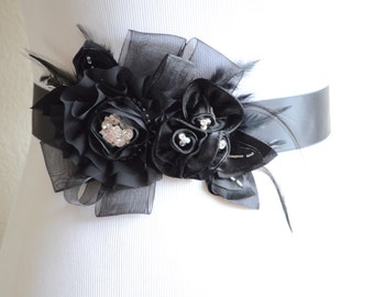 Black Flower Feather Sash, Black feather sash,Flower sash, Rhinestone, Pearl, Organza, Satin, STYLE SB046