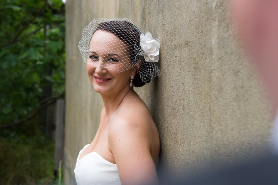 MADE TO ORDER, Best seller veil, Ivory Birdcage Veil, Side Pouf, Visor Veil, Bubble Veil, Veil only, style VB005