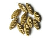 10 golden Paper Beads made of corrugated cardboard