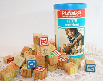 Vintage Playskool Blocks - 44 Letters in Primary Colors