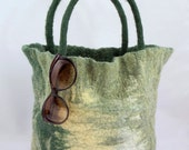 SALE - handfelted, green ecru and light yellow medium sized tote bag