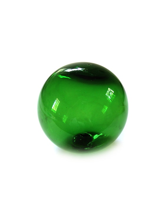 Vintage Emerald Green Glass Sphere Orb Pond By Lakesidecottage