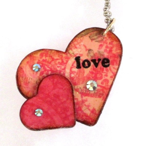 Valentine Keychain Love Keychain Double Hearts Pink Peach Decoupaged Key Chain Gift for Her Gifts Under 10
