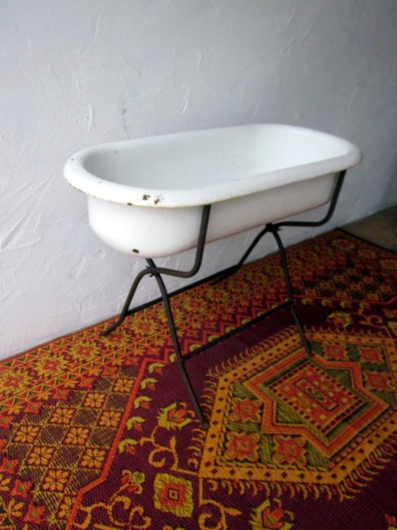 authentic vintage antique baby bathtub with stand from hungary. Black Bedroom Furniture Sets. Home Design Ideas