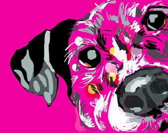 Pink Dog Portrait Digital Download