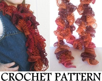 Ruffle Scarf PATTERN - INSTANT Download - How to Crochet a Lace Ruffle Scarf, using Sashay Yarn, PDF download sent by email link