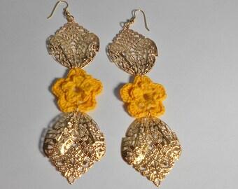 Golden Feligree Earrings-Yellow Crochet Earrings-Buttercup Crochet Earrings
