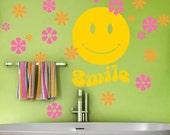 Bathroom Wall Decor Decal - Hippie Room Decor - Retro Smiley Face with Hippie Flowers - Vinyl Wall Decals - Tween Teen Bedroom Decor