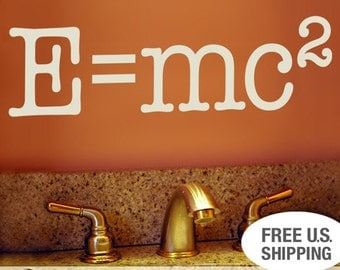 Vinyl Wall Decal Science Nerd Educational Words: E equals mc2, Albert Einstein