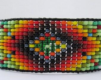 Huichol Native American Inspired Beaded Bracelet or Anklet  - Original Design