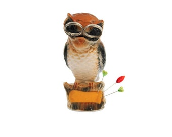 Ceramic Owl Pincushion