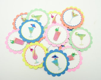 Cocktail Party Embellishments Set of 15  Colorful Party Favors Tropical Summer Confetti Tropical Decor Mixed Drink Handmade Embellishments