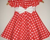 Disney minnie Mouse  red polka dot dress twirling dress Disney  sizes 12 months , 2t,3t,4t,