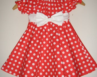 Minnie Mouse  10% off code is tilFEB dress red polka dot Minnie Mouse dressTwirl dress DIsney dress  sizes  12 ,18 months 2t,3t,4t,