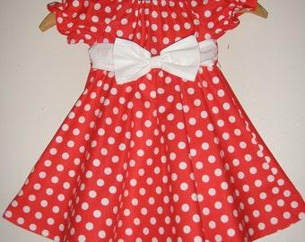 Minnie Mouse dress red polka dot Minnie Mouse dressTwirl dress DIsney dress  sizes  12 ,18 months 2t,3t,4t,