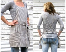 SALE Cross Back Ticking Apron made to order 7-10 Day Production Time