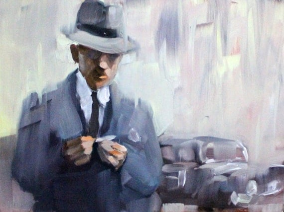 "Rolling a Smoke in the Rain, 8""x10"" on masonite panel  by Kenney Mencher"