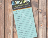 Funky Letters Baby Boy Baby Word Scramble Printable Baby Shower Game - INSTANT DOWLOAD