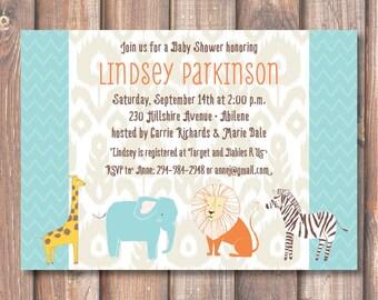 Boho Safari Animals Baby Shower Invitation Ikat Safari Printable Invitation Zoo Birthday Party Twins Baby Boy Lion Elephant Giraffe Aqua
