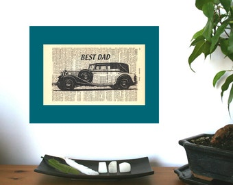 Best Dad Oldtimer Personalized Art Print on Antique 1896 Dictionary Book Page