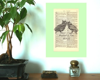 Irresistible Love Eagle Owls Wedding Engagement Anniversary Valentine Gift Personalized Art Print on Antique 1896 Dictionary Book Page