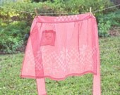 Vintage Gingham Folk Apron with Embroidery Detail