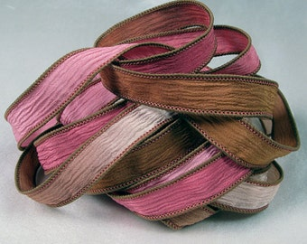 Hand Dyed Silk Ribbons - Crinkle Hand Painted Silk Jewelry Bracelet  - Quintessence - Rosewood