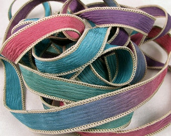 Hand Dyed Silk Ribbons - Crinkle Hand Painted Silk Jewelry Bracelet  - Quintessence - Enchanted