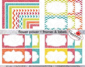 Flower Power Frames & Labels: Clip Art Pack Card Making Digital Frames Page Borders Chevron Dots Stripes