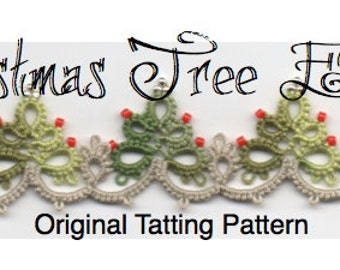 Christmas Tree Edging with Corner -  TATTING PATTERN