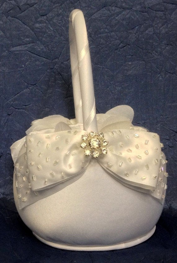 Flower Girl Baskets Ivory Uk : Ivory flower girl basket white hand beaded by