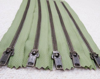 8inch - AsparagusGreen Metal Zipper - Brass Teeth - 5pcs