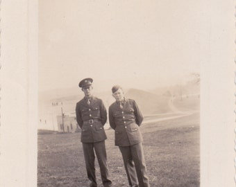 Two Guys in Uniform - Vintage Photograph, Vernacular, Military Photo, Ephemera  (Z)
