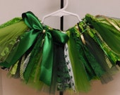 Bright, Medium and Dark Green St Patrick's Day Scrappy Fabric and Tulle Tutu - designsbysusan1