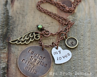 long mixed metal design with personalized pendant, my loves heart, initial pendant, angel wing and crystal drop